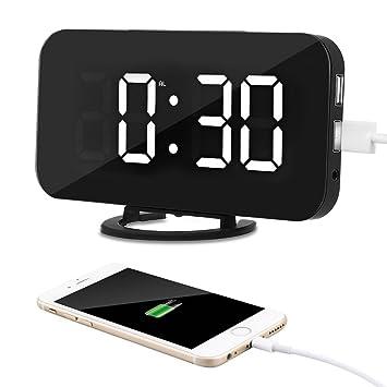 Kidsidol 2 en 1 creativo reloj de alarma digital LED dimmer diseño Smart Power Bank Brillo ...