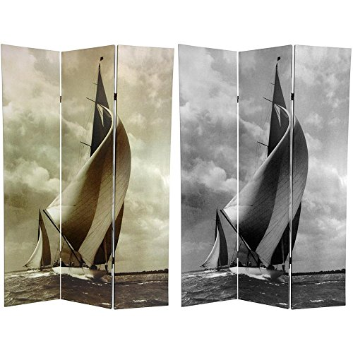Oriental Furniture 6 ft. Tall Sailboat Double Sided Room Divider