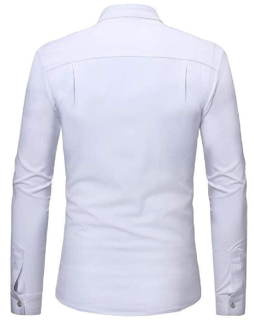 GenericMen Classic Long Sleeve Stand Color Ruffles Pure Shirts