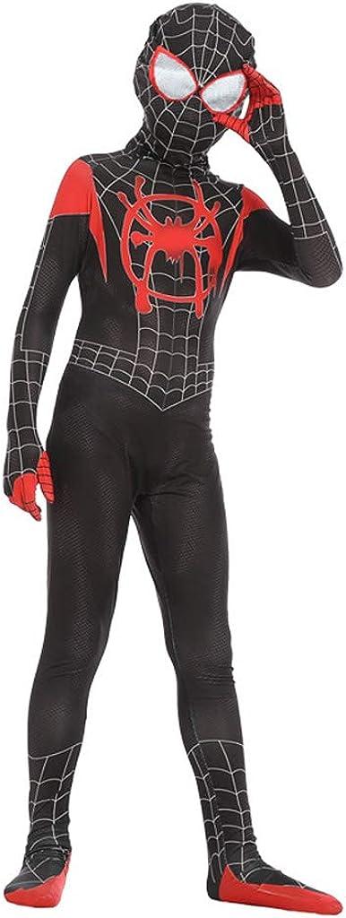 SPIDERMANHTT Costumi di prestazione di film di Halloween Era cosplay Spider-Man cosplay costume elastico Stampa 3D Spandex Lycra Color : Black, Size : M 110-120cm
