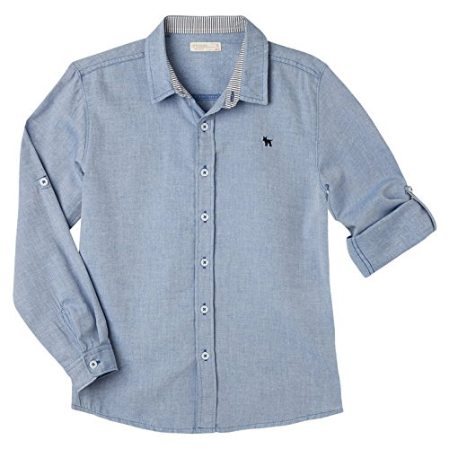 OFFCORSS Big Boys Long Sleeves Solid Colors Dress Button Down Slim Fit  Cotton Dressy Shirt Collared 609566f520ed9