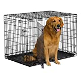 """New World 42"""" Double Door Folding Metal Dog Crate, Includes Leak-Proof Plastic Tray; Dog Crate Measures 42L x 30W x 28H Inches, Fits Large Dog Breeds"""