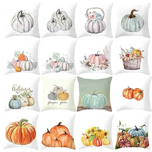 Pumpkin Throw Pillow Case Decorative Miuye yuren Happy Halloween Fall Watercolor Throw Pillow Covers Cushion Cover