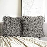 Phantoscope Pack of 2 Luxury Series Throw Pillow Covers Faux Fur Mongolian Style Plush Cushion Case for Couch Bed and Chair, Grey 20 x 20 inches 50 x 50 cm