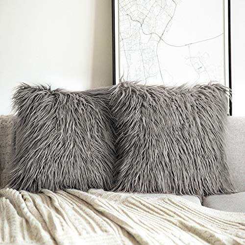 Phantoscope Pack of 2 Luxury Series Throw Pillow Covers Faux Fur Mongolian Style Plush Cushion Case for Couch Bed and Chair,Grey 18 x 18 inches 45 x 45 cm (Cushions And Grey Orange)