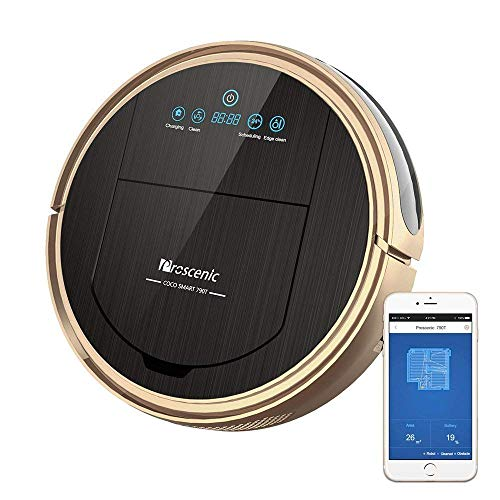 Proscenic 790T, 1500Pa,Robotic Vacuum Cleaner with APP & Alexa Voice Control, Visionary Map, Water Tank and Mopping, 12.99 x 3.54 x 3.54 in in, Gold