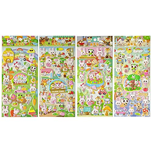 (Asian108Markets Bunny Rabbit with Frog Turtle Panda Goat Sheep Giraffe and Fox (4 Different Sheets Reusable Puffy Decorative Scrapbooking Sticker) -)