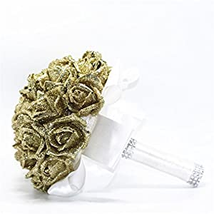 YJYdada Artificial Flower, Crystal Roses Pearl Bridesmaid Wedding Bouquet Bridal Artificial Silk Flowers De 2