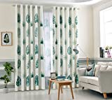 eTRY Tropical Banana Leaf Green Window Curtain Blackout Room Darkening Grommet Top For Living Room 52 x 84 Inch 1 Panel