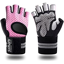 SIMARI Workout Gloves for Women Men,Training Gloves with Wrist Support for Fitness Exercise Weight Lifting Gym Crossfit,Made of Microfiber and Lycra SMRG902(Pink M)