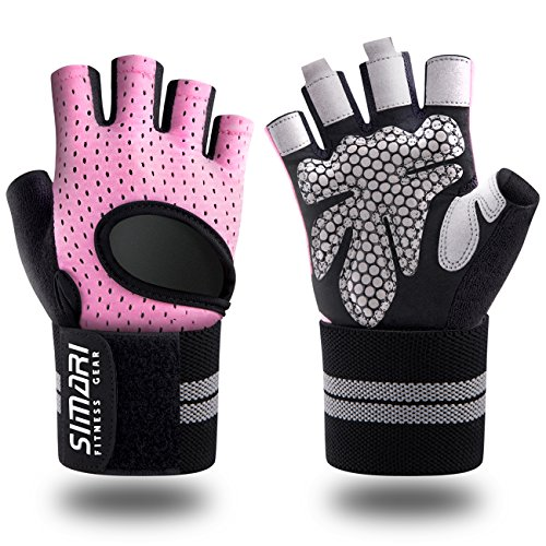 (SIMARI Workout Gloves for Women Men,Training Gloves with Wrist Support for Fitness Exercise Weight Lifting Gym Crossfit,Made of Microfiber and Lycra SMRG902(Pink S))