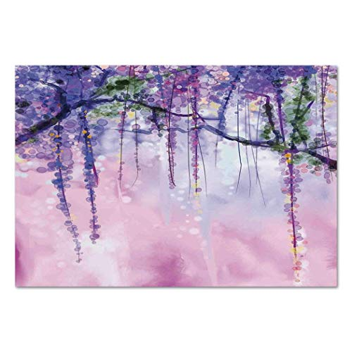 Funky Wall Mural Sticker [ Watercolor Flower,Wisteria Flowers on Blurred Background with Dreamy Colors,Purple Light Pink Green ] Self-Adhesive Vinyl Wallpaper/Removable Modern Decorating Wall Art -
