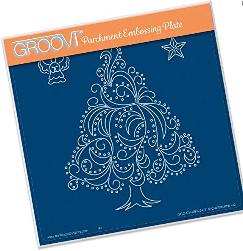 - Groovi Parchment Embossing Plate - Christmas Tree Angel & Star A5 - Laser Etched Acrylic for Parchment Craft