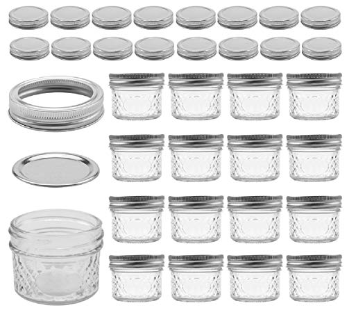 (Tebery 16 Pack Mason Jars Canning Jars 4 OZ Jelly Jars With Regular Lids and Bands, Extra 16 Lids 40 Chalkboard Labels)