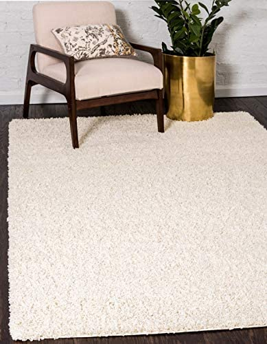 Unique Loom Solo Solid Shag Collection Modern Plush Pure Ivory Area Rug 8 0 x 10 0