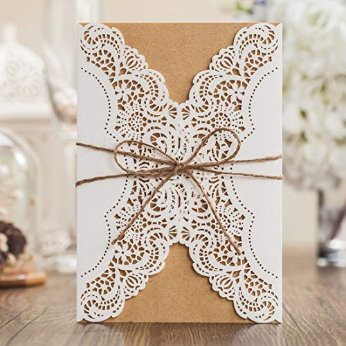 Rustic Laser Cut Wedding invitations Cards Lace Sleeve Pocket Invite Envelopes Kit Burlap Tie for Engagement Bridal Baby Shower Birthday Quinceanera Cardstock Favors Jofanza (100)