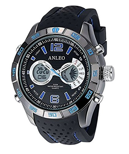 ANLEOWATCH 1PCS Blue Luxury Chronoraph Calendar Watch Men Military Sports Watches Digital LED Quartz Wristwatches