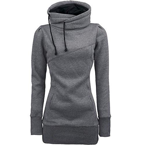 Dragon868 Hoody Sweatshirt Damen Kapuzenpullover mit Hohem Kragen Feste Sweatshirt Pullover Tops Slim Fit Pullover