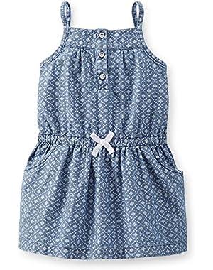 Mini Blues Little Girls Geo Chambray Dress (Blue)