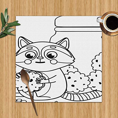 Little Cute Raccoon Cookies Paws Jar Wildlife Adorable The Arts Colour Print Placemats,Placemats,Placemats Dining Table,Heat-Resistant Placemats, Stain Resistant Washable PVC Table Mats,Kitchen Table (Raccoon Jar Cookie)