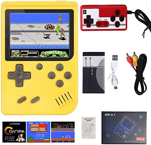 (Single or Two Player) 400 in 1 Mini Handheld Game Console – Retro Mini Game Machine – 800mAh Rechargeable Battery – Support Connecting TV and 2 Controllers – Present for Kids and Adults … (Yellow)