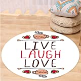 VROSELV Custom carpetLive Laugh Love Decor Valentines Day Theme Typographic Banner Heart Shaped Cookies Tea Cup for Bedroom Living Room Dorm Multicolor Round 79 inches