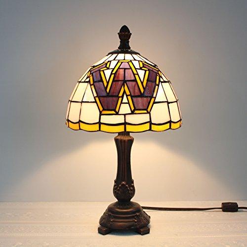 (HDO 9-inch NCAA Washington Huskies Stained Glass Table Lamp)