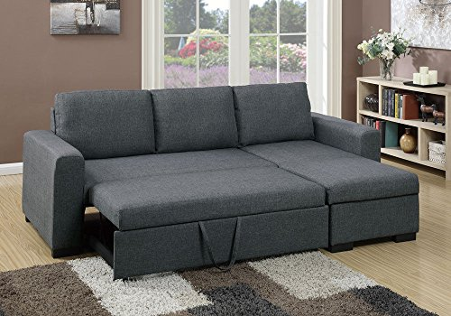 1PerfectChoice Modern 2 pcs Sectional Sofa Pull-Out Bed Under-Seat Storage Blue Grey Polyfiber by 1 PERFECT