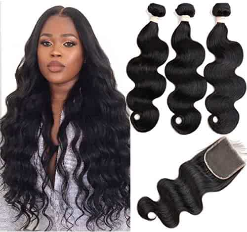 Beauhair Brazilian Body Wave Virgin Hair Bundles with Lace Closure(14 16 18 with14closure) Human Hair Unprocessed Body Wave Hair with Closure 4X4 Lace Free Part Natural Black Hair