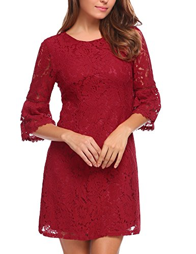 Zeagoo Women's 3/4 Flare Sleeve Floral Lace A-line Cocktail Party Dress, B-wine Red, Large (Short Lace 3 4 Sleeve Wedding Dress)