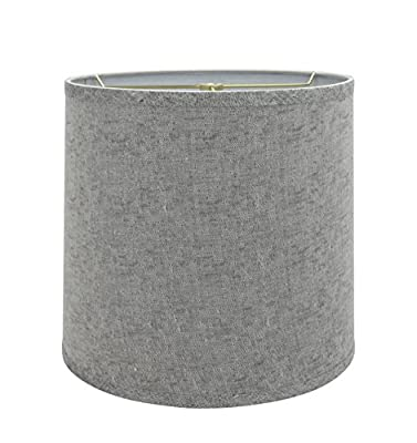 """Aspen Creative 32502 Transitional Drum (Cylinder) Shaped Spider Construction Lamp Shade in Grey, 13"""" Wide (12"""" x 13"""" x 12"""")"""
