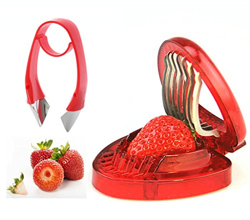 Strawberry Huller and Strawberry Slicer Set, Strawberry Tomato Potato Pineapple Carrot Stem Remover, Wild Strawberry Corer Cutter Red