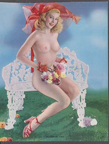 Blossom Time topless nude pinup print C Moss 1948 garden bench amp bouquet