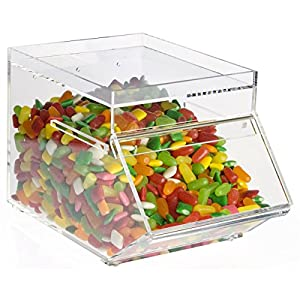 Displays2go ACD17618 Tabletop Scoop Bins, 1 gallon, Clear