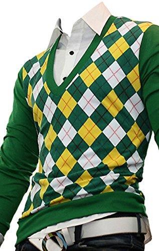 Mmoriah Mens Dandy Modern V-Neck Argyle Sweater Knit Vest Jumper Jacket (Green)