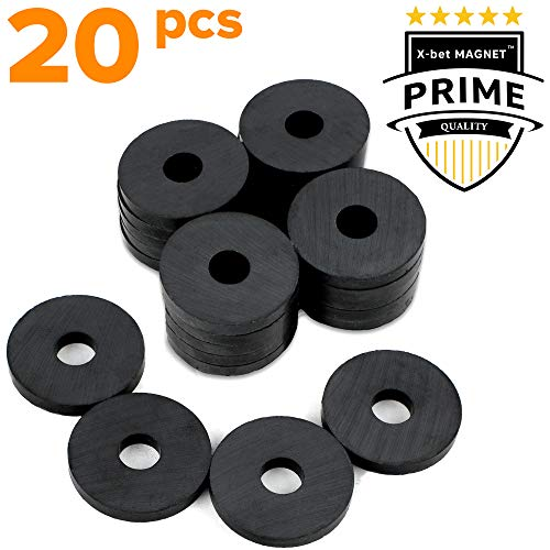 Ferrite Ring Magnets with Holes - 1.2 Inch (31mm) Round Disc Donut Magnets - Circle Hole Magnets - Perfect Ceramic Circular Magnets for Crafts and DIY - 20 PCs in Box