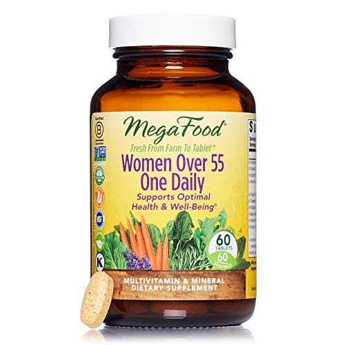 MegaFood - Women Over 55 One Daily, Multivitamin Support for Healthy Energy Production and Strong Bones with Vitamins C and D3, and Methylated Folate, Vegetarian, Gluten-Free, Non-GMO, 60 Tablet