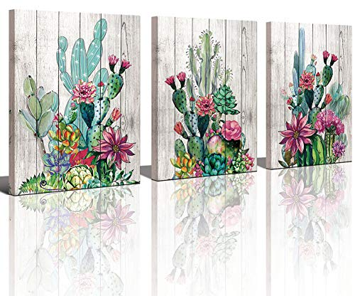 (Yiijeah 3 Piece Framed Wall Art Watercolor Tropical Plant Desert Cactus Canvas Print for Bedroom Bathroom Spiny Flower Artwork Home Office Wall Decoration 12x16 3 Panels Decor)