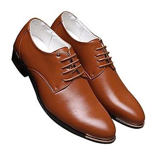 Men's Classic Modern Oxford Plain Lace Up Dress Shoes Derby by Santimon Brown 9 D(M) US