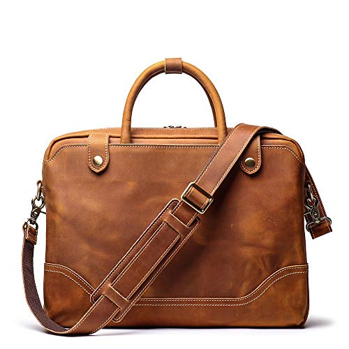 Leathfocus Genunie Men's Leather Briefcase Leather Laptop Bag Full Grain Messenger Bag Classic Tote (Light Brown) ()