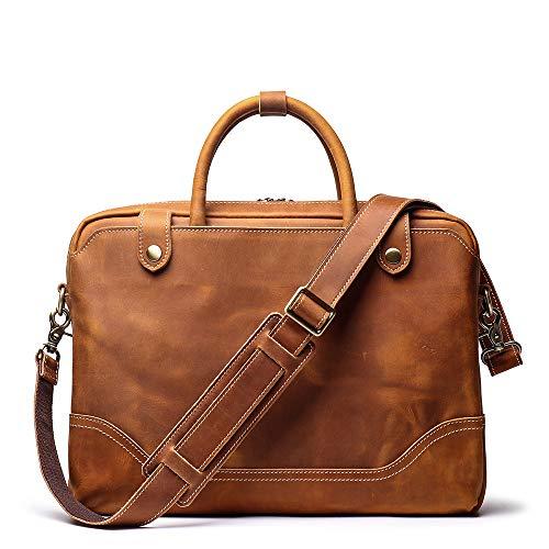 Leathfocus Genunie Men's Leather Briefcase Leather Laptop Bag Full Grain Messenger Bag Classic Tote (Light Brown) ()