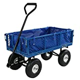 Sunnydaze Utility Garden Cart with Foldable Sides, Heavy-Duty 400 Pound Weight Capacity, Blue For Sale