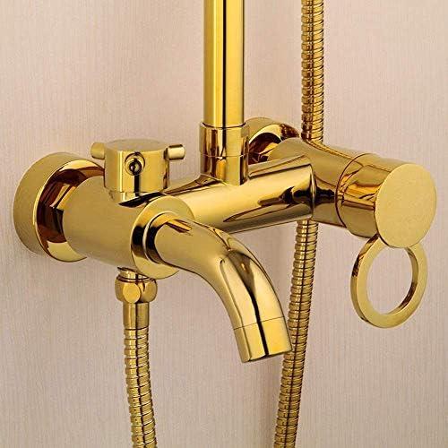 ZJN-JN すべての銅金ヨーロッパの浴室のシャワーセットハンドヘルドシャワーシステムであり、加リフティングロッド円形トップはシャワーの蛇口3機能バンドは、繊細なスプレー シャワーヘッド ホース セット システムバス
