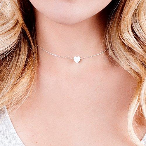 14k 8 Mm Heart - White Opal Heart On Sterling Silver 925 Choker Necklace - Designer Handmade Minimal Collar - Length: 13.5 inch + 3 inch Extender