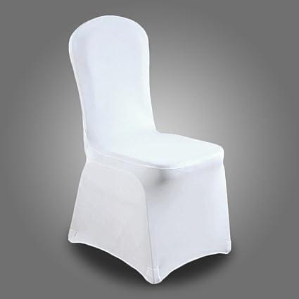 Hengda 100x Blanc Housses De Chaise Couverture Stretch De Chaise Universelle Moderne Spandex Pour De Mariage à Domicile Décoration