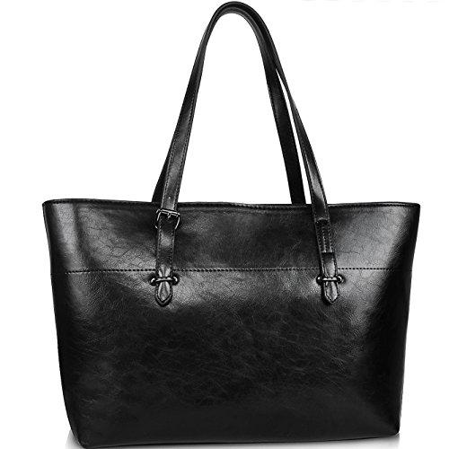 Design Leather Tote Bag (Tote Bag for Women,Vegan Leather Handbags Concise Design,YAAMUU Shoulder Bag with Large Capacity [L0002/black])