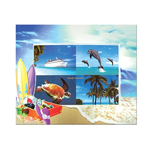 Rockin Gear Photo Frame 4 x 6 Beach Scene Embossed Surface Picture Frames Holds a 4 x 6 Photo (Surfboard) ()