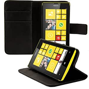 Bloutina Elegant leather case for the Nokia Lumia 520 with magnetic fastener and stand function in Black from kwmobile