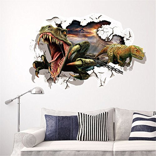 Stazsx 3D stereo wall stickers dinosaur stickers Jurassic dinosaur wall stickers living room bedroom corridor wall stickers wallpaper wall paintings