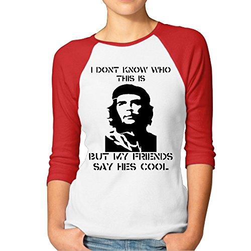 P-Jack Women's Che Smile Guevara Three-Quarter Sleeve Raglan Baseball Tee Red (Che Guevara Berets)